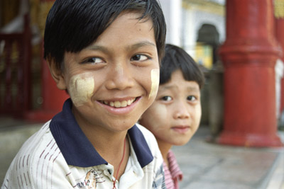 Kids Wearing Sunscreen in Pathein, Myanmar