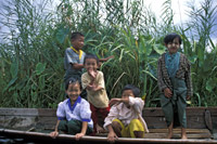 Children on Boat on Inle Lake, Myanmar