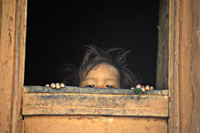 Girl Peeking in Ghasa, Nepal