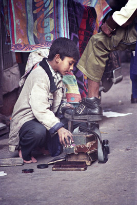 Shoeshine Boy in Delhi, India